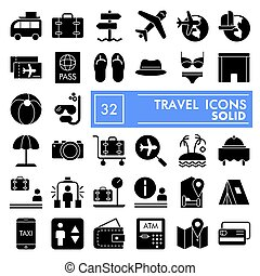 Travel glyph icon set, vacation symbols collection, vector sketches, logo illustrations, tourism signs solid pictograms package isolated on white background, eps 10.