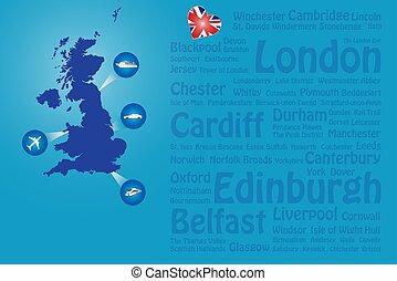 Travel Great Britain landmarks names template vector