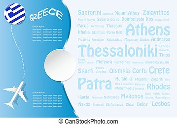 Travel Greece template vector with names of landmarks