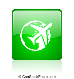 travel green square web glossy icon