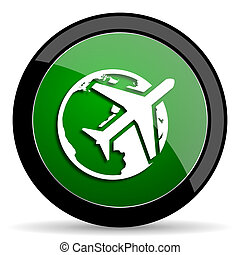 travel green web glossy icon with shadow on white background