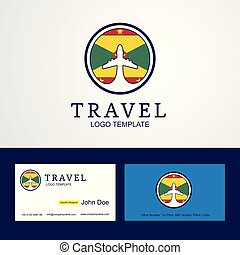 Travel Grenada Creative Circle flag Logo and Business card design