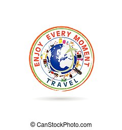 travel grunge rubber stamp illustration in colorful