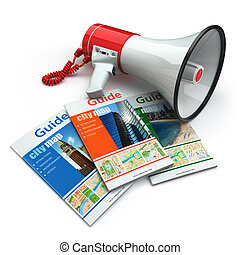 Travel guide books  and megaphone on white isolated background. Audioguide concept. 3d