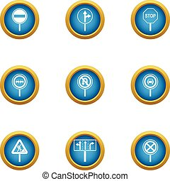 Travel guide icons set, flat style