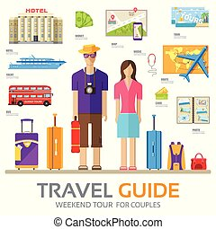 Travel guide infographic with vacation tour locations and items. Tourism with fast travel of the world on a flat design style. Vector illustration concept icons set