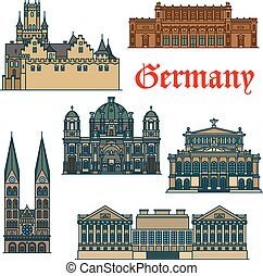 Travel guide thin line icon of german attractions