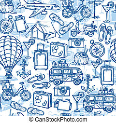 Travel hand drawn seamless pattern
