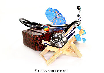 Travel health insurance - a suitcase, deckchair and...
