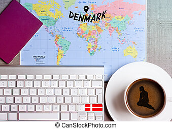 Travel holiday concept with coffee and map flag