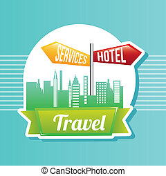 travel - hotel service sign over retro vintage background...