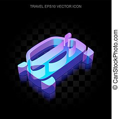 Travel icon: 3d neon glowing Car made of glass, EPS 10 vector.