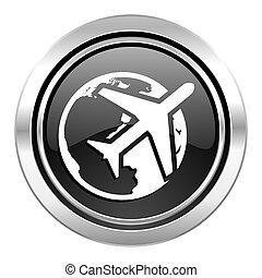 travel icon, black chrome button