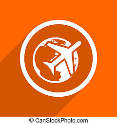 travel icon. Orange flat button. Web and mobile app design illustration
