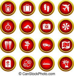 Travel icon red circle set