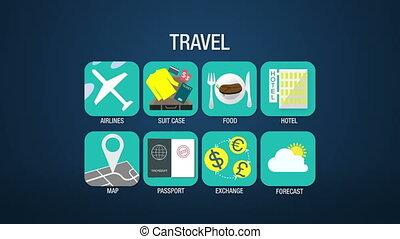 Travel icon set animation