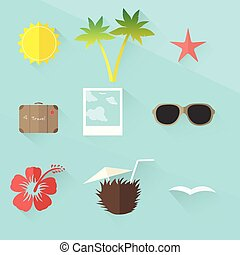 travel icon set. flat design