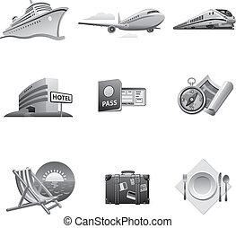 Travel icon set gray