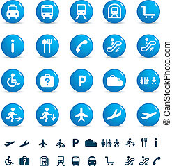 travel icon set - illustration set of various icons found at...