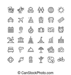 Travel Icon Thin Line Set. Vector