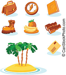 Travel icons. Vector illustration.