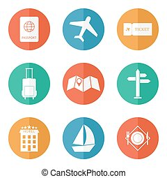 Travel icons flat vector