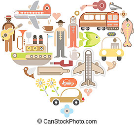 Travel Icons in Heart Shape