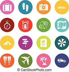 Travel icons many colors set