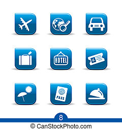 travel icons no.8..smooth series - Set of nine travel web...