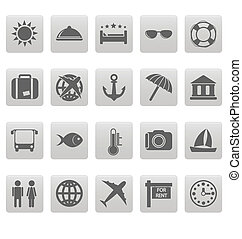 Travel icons on gray squares