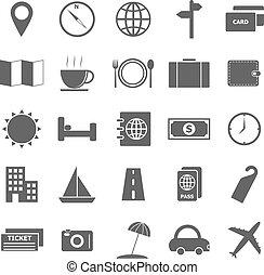 Travel icons on white background