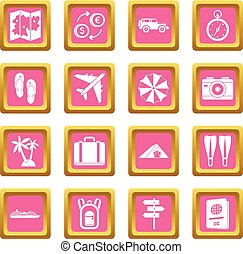 Travel icons pink