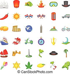 Travel icons set, cartoon style