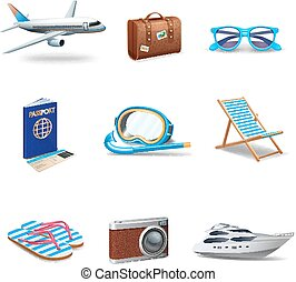 Travel Icons Set - Travel icons realistic set with passport...