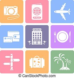 Travel icons set, flat design