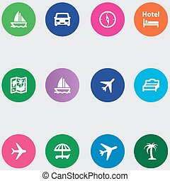 travel icons set in a flat design