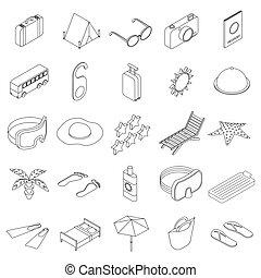 Travel icons set, isometric 3d style