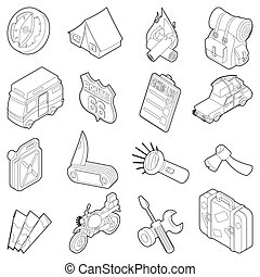 Travel icons set, isometric outline style