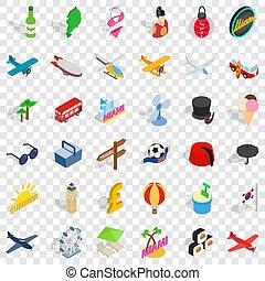 Travel icons set, isometric style