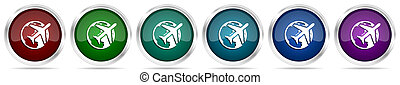 Travel icons, set of silver metallic glossy web buttons in 6 color options isolated on white background