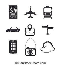 Travel icons set on white background