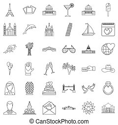 Travel icons set, outline style - Travel icons set. Outline...