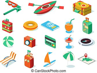 Travel icons set, summer vacation objects vector Illustrations on a white background