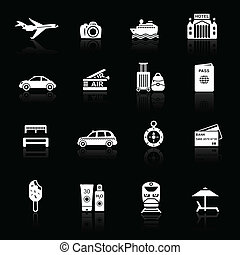 Travel icons white on black