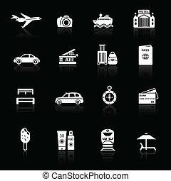 Travel icons white on black