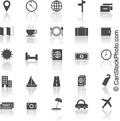 Travel icons with reflect on white background