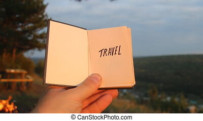 Travel idea. Book with the inscription.