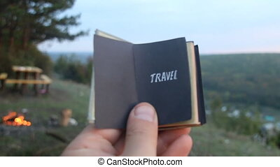 Travel idea. Retro Book with the inscription
