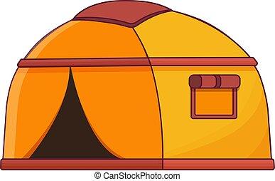 travel., illustration, icône, dessin animé, extérieur, camper tente, nature, adventure., style, voyage, tourisme, plat, vecteur
