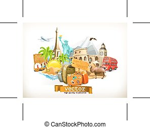 Travel illustration icons - Set with travel, vector...